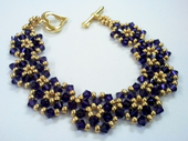 Flower Links Bracelet Crystal Beadwork Jewellery Making Kit with SWAROVSKI® ELEMENTS crystal beads Purple and Gold